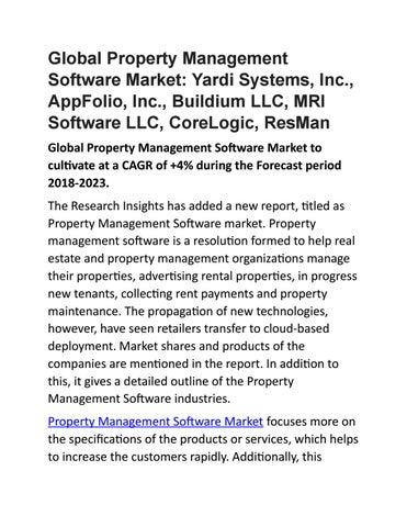 Global Property Management Software Market: Yardi Systems, Inc , AppFolio,  Inc , Buildium LLC