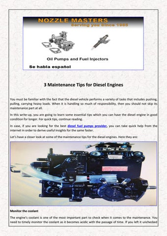 3 Maintenance Tips for Diesel Engines by dieselinjection - issuu