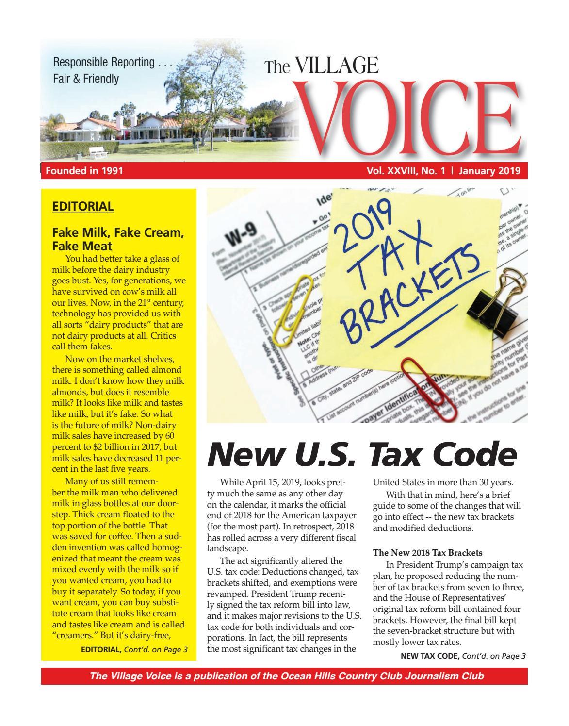 01-2019 Village Voice Newsletter by Village Voice Newsletter