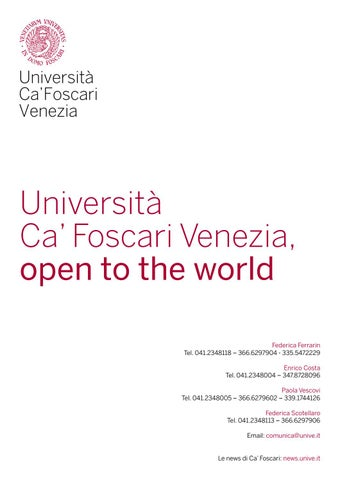 Ca Foscari Calendario Accademico.Universita Ca Foscari Venezia Open To The World By