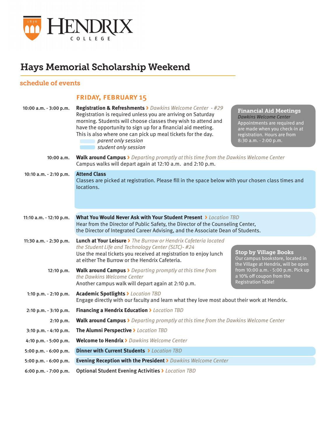 Hays Weekend 2019 Schedule by Hendrix College - issuu