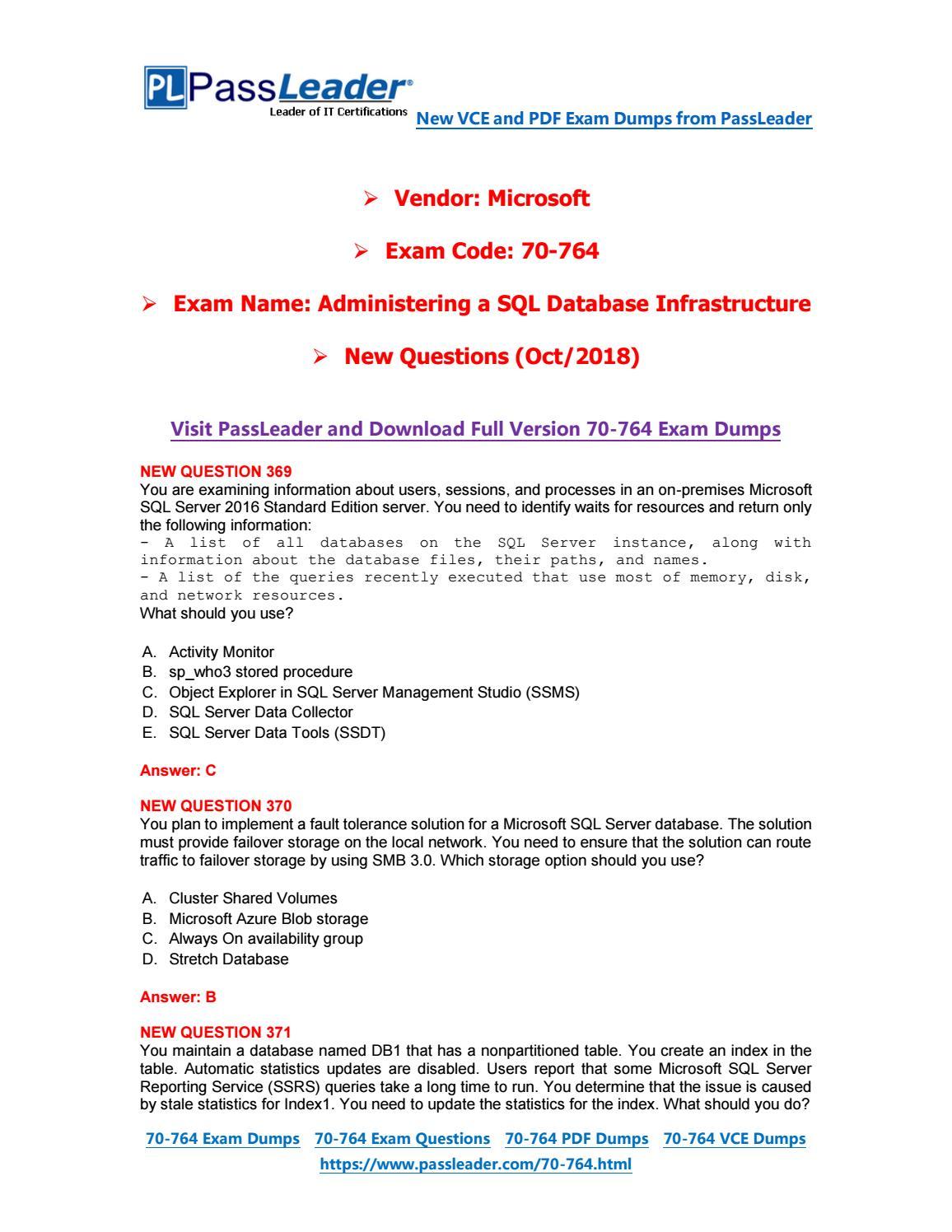 2019-New-PassLeader-70-764-Exam-Dumps-VCE-PDF-Braindumps-Exam