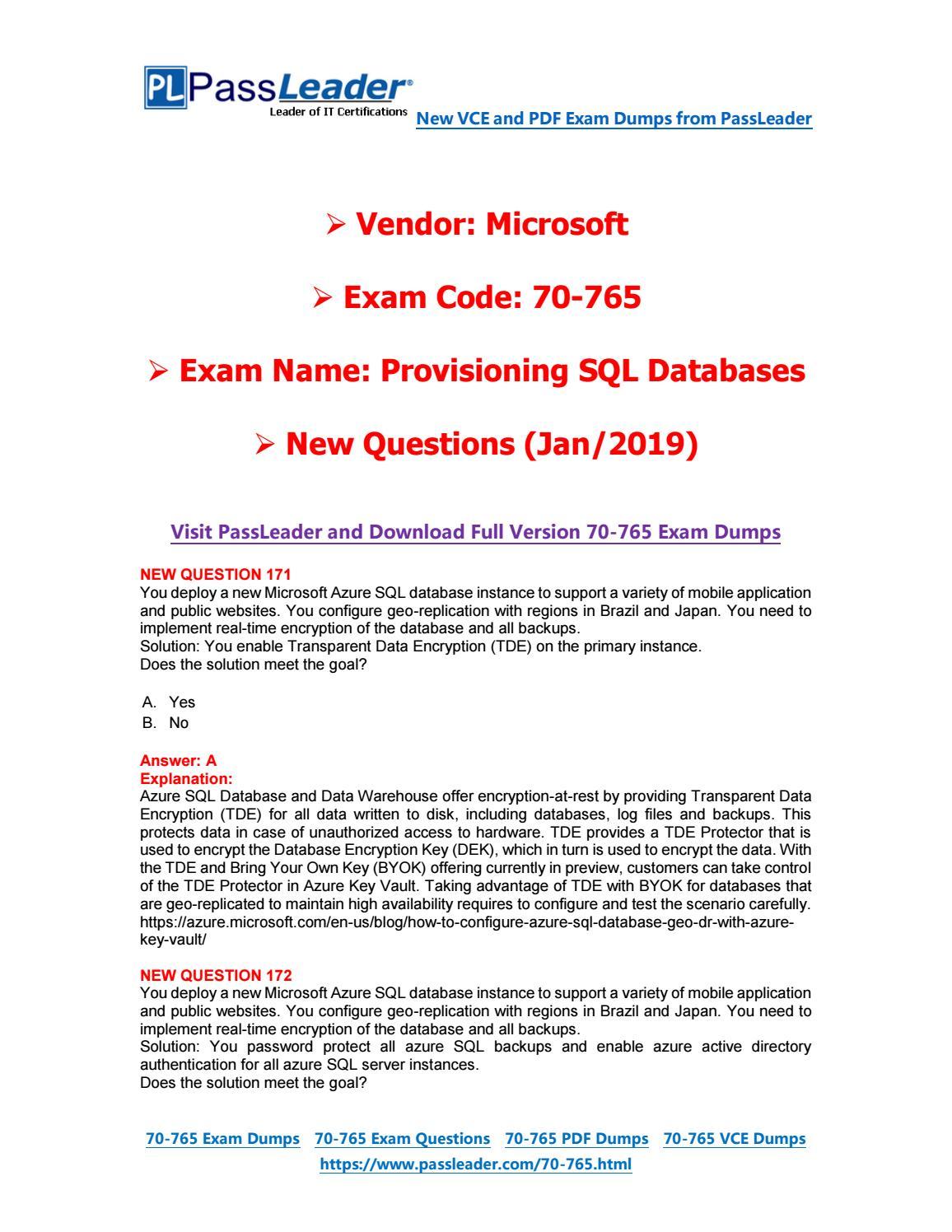 2019-New-PassLeader-70-765-Exam-Dumps-VCE-PDF-Braindumps
