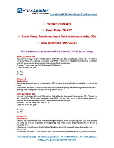2019-New-PassLeader-70-767-Exam-Dumps-VCE-PDF-Braindumps