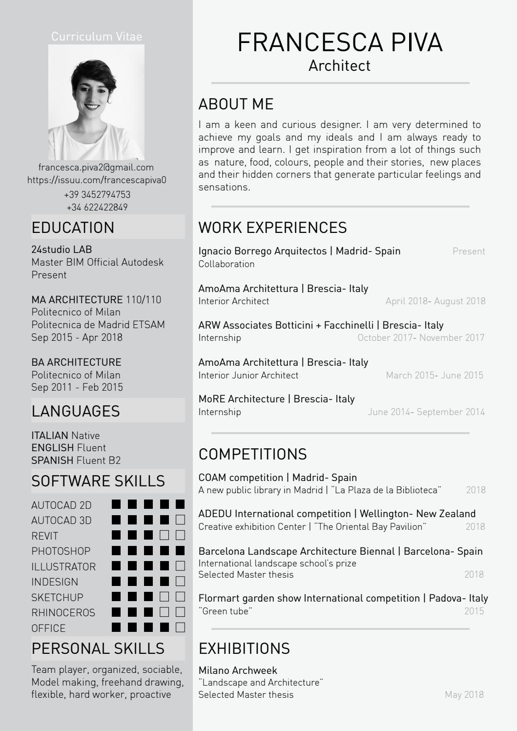 curriculum vitae 2019 by francesca piva