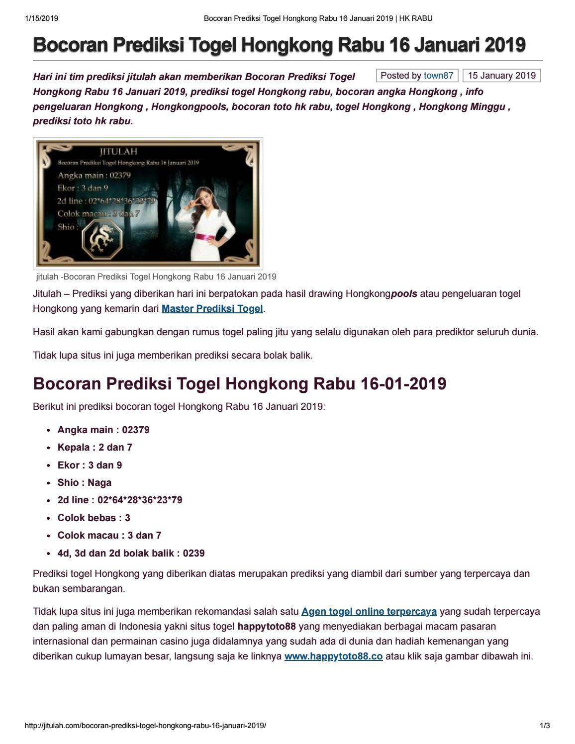 Bocoran Prediksi Togel Hongkong Rabu 16 Januari 2019 by angelina1310