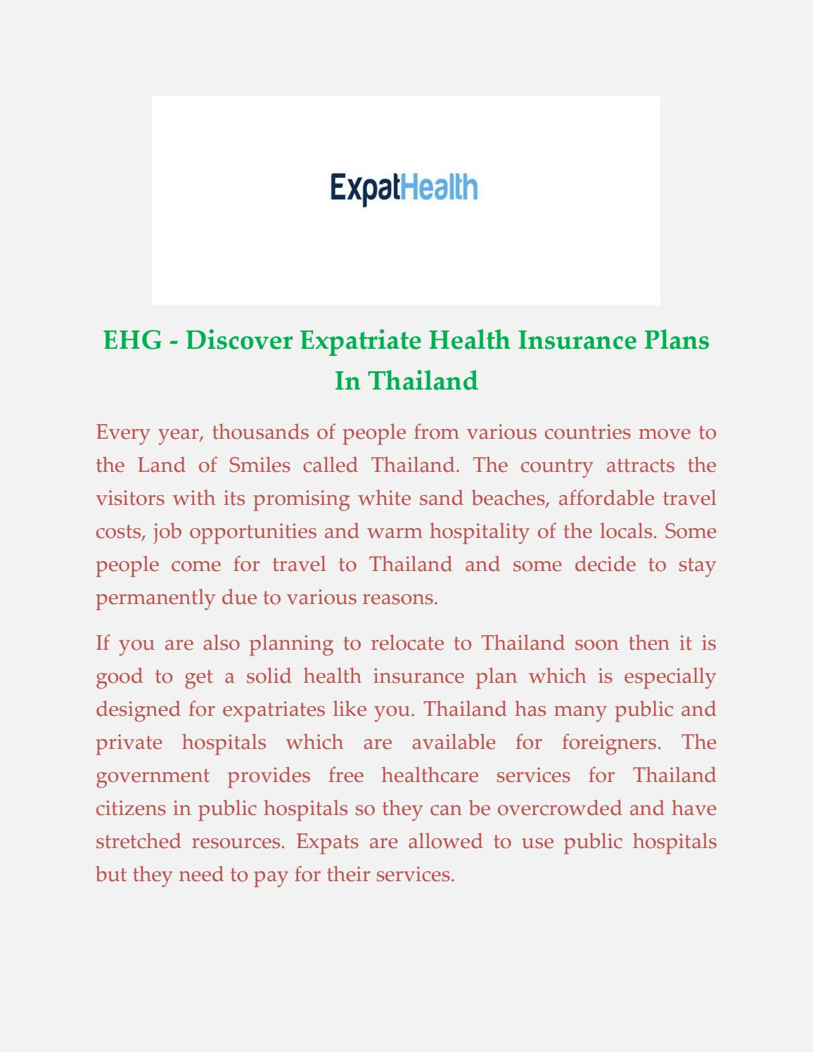 Health Insurance Cover in Thailand by expathealthgroup - issuu