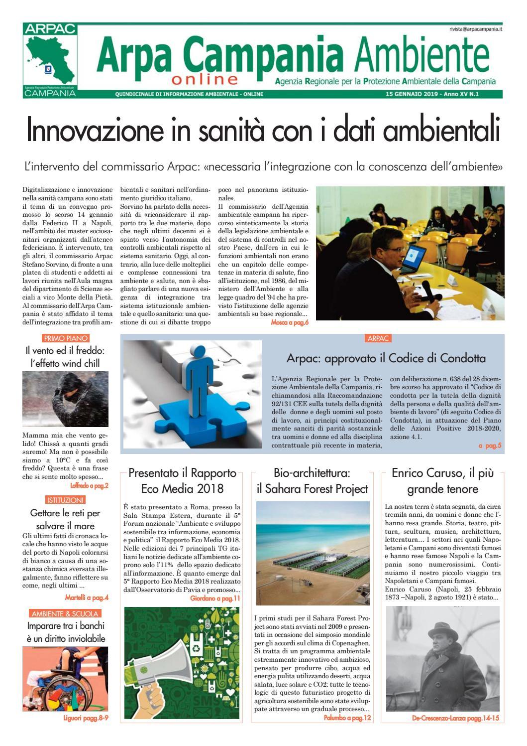 Arpa Campania Ambiente N 1 2019 By Arpa Campania Servizio