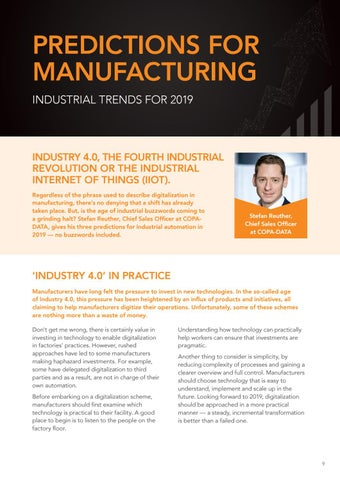 Page 9 of Predictions for Manufacturing - Industrial trends for 2019