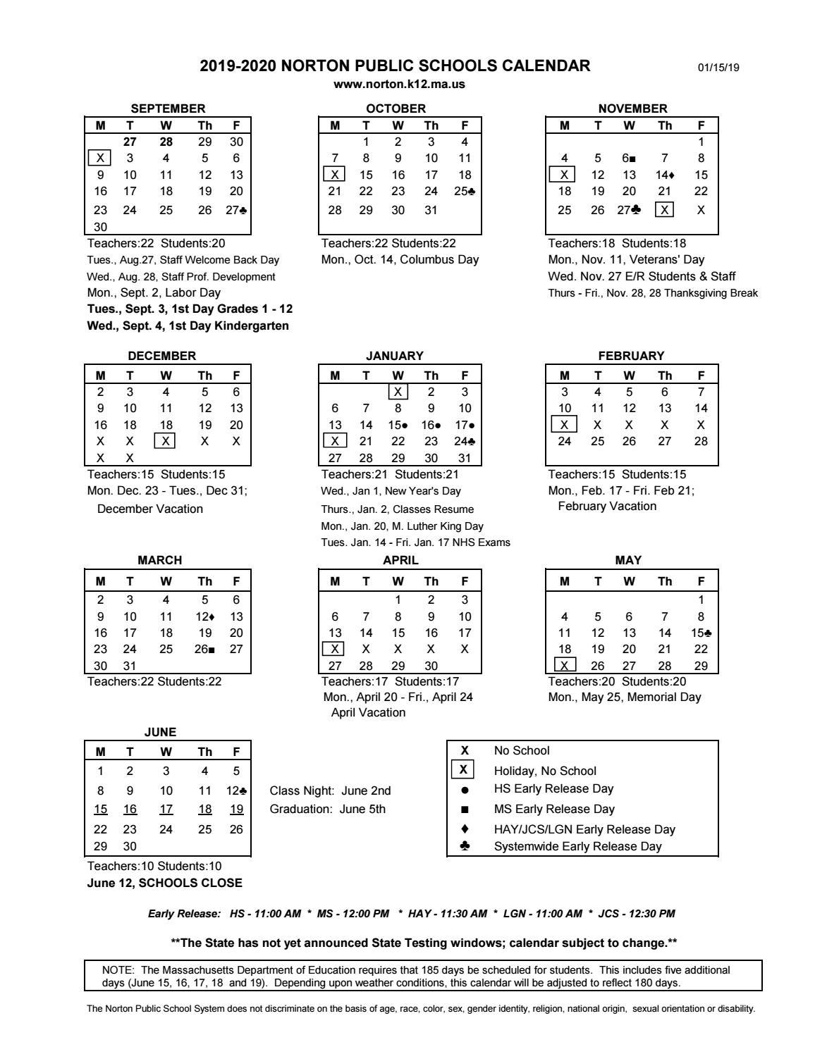 Nps Calendar 2020 NPS Calendar 2019 2020 (03 29 18) by Karen Winsper   issuu