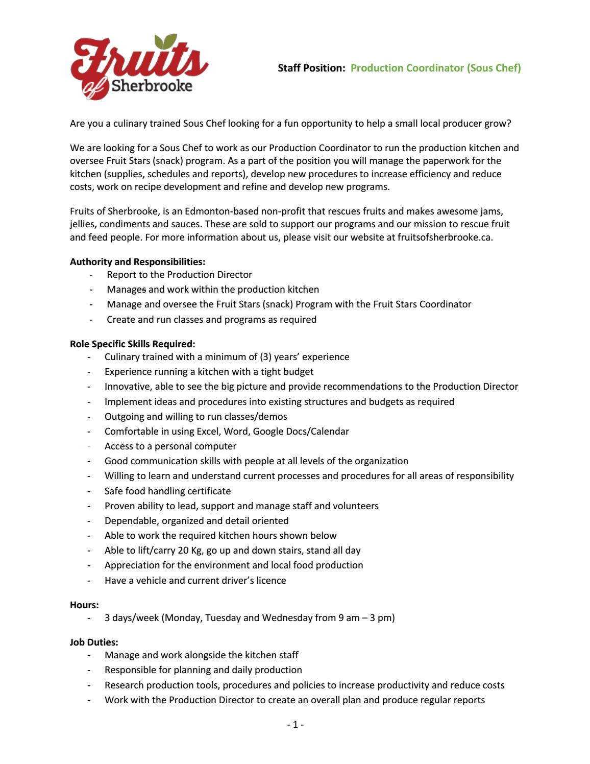 Production Coordinator Sous Chef By Fruitsofsherbrooke Issuu