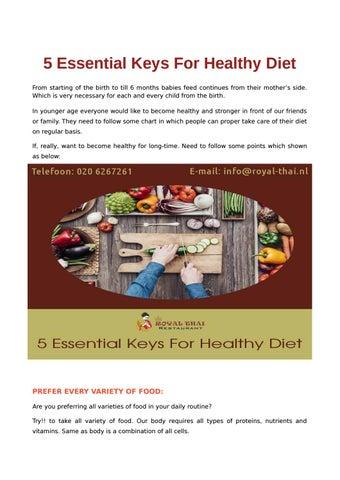 5 Essential Keys For Healthy Diet by royalthai - issuu