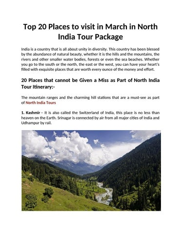 Top 20 Places to visit in March in North India Tour Package