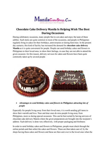 Chocolate Cake Delivery Manila