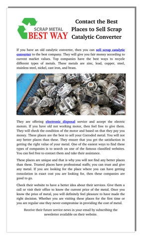 Contact the Best Places to Sell Scrap Catalytic Converter by Daniel