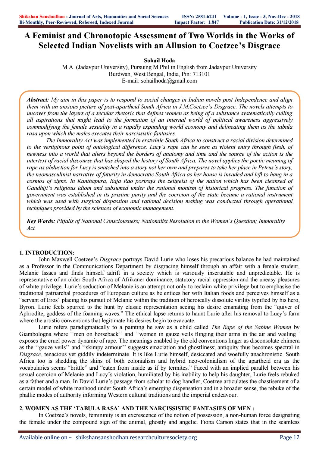 A Feminist and Chronotopic Assessment of Two Worlds in the