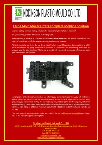 China Mold Maker Offers Complete Molding Solution by