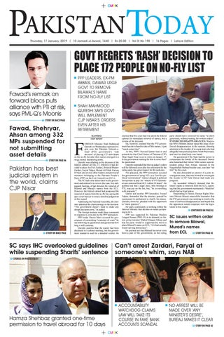 E-Paper PDF 17th January 2019 (LHR) by Pakistan Today - issuu
