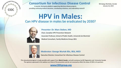 HPV and Males: Can HPV disease in males be eradicated by 2030?