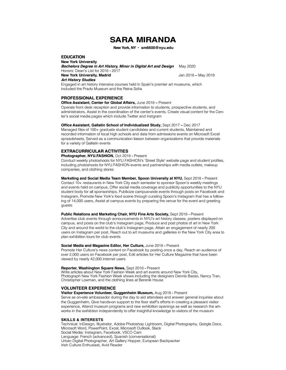 Sara Miranda's Resume by sara kelly616 - issuu