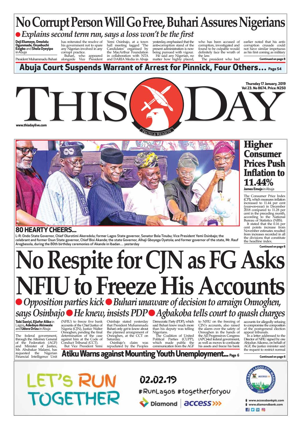 5788ea53b27 THURSDAY 17TH JANUARY 2019 by THISDAY Newspapers Ltd - issuu