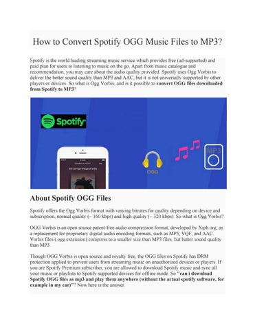How to Convert Spotify OGG Music Files to MP3? by Paris