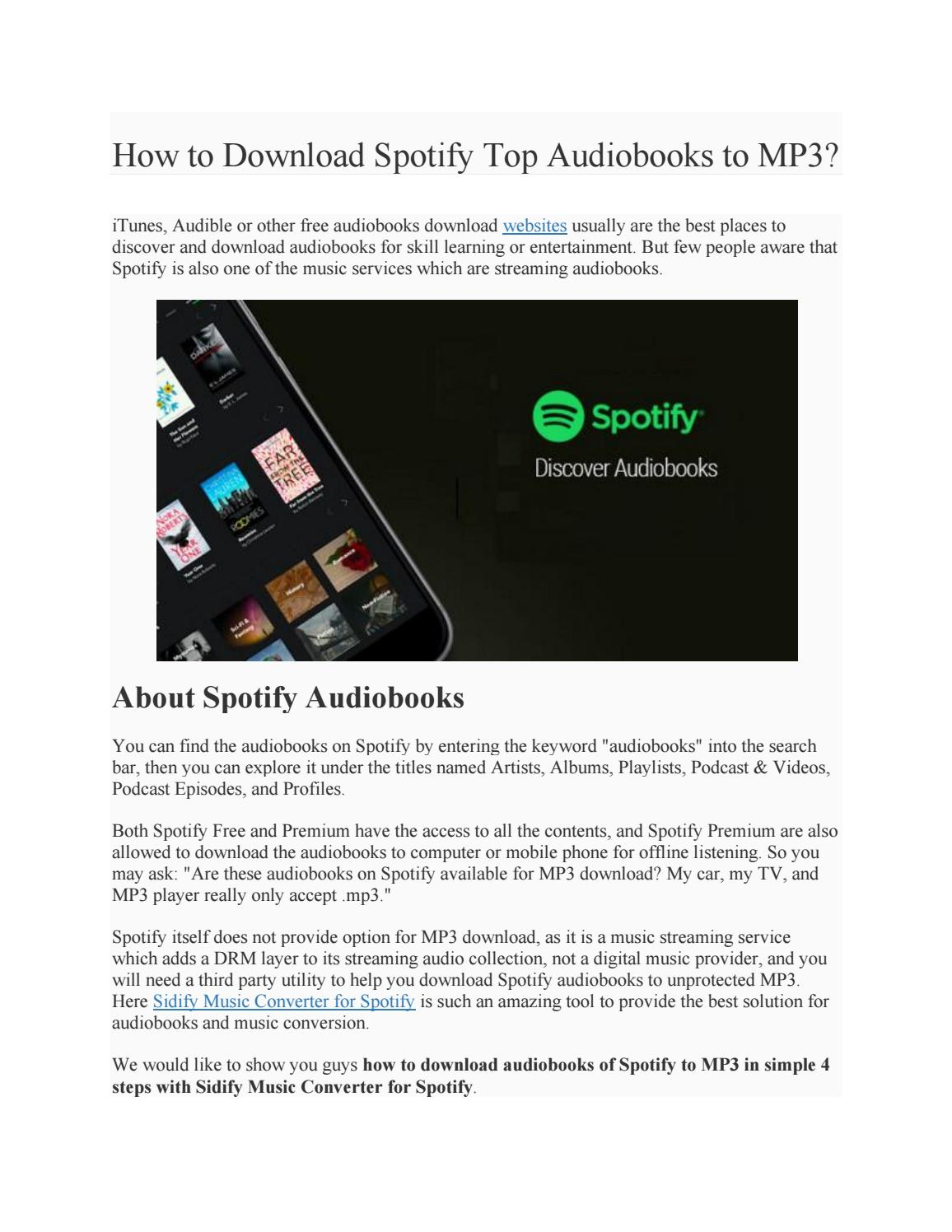 How to Download Spotify Top Audiobooks to MP3? by Paris Young - issuu