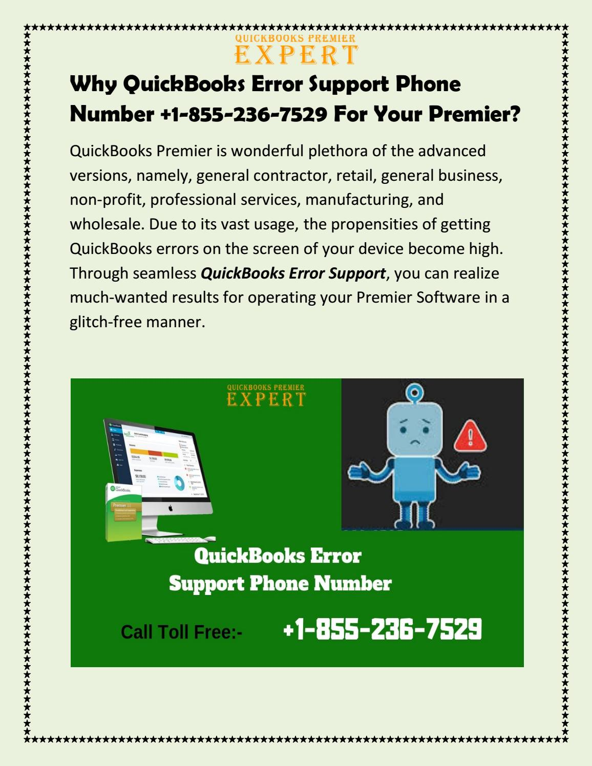 Why QuickBooks Error Support Phone Number 8552367529 For Your Premier?