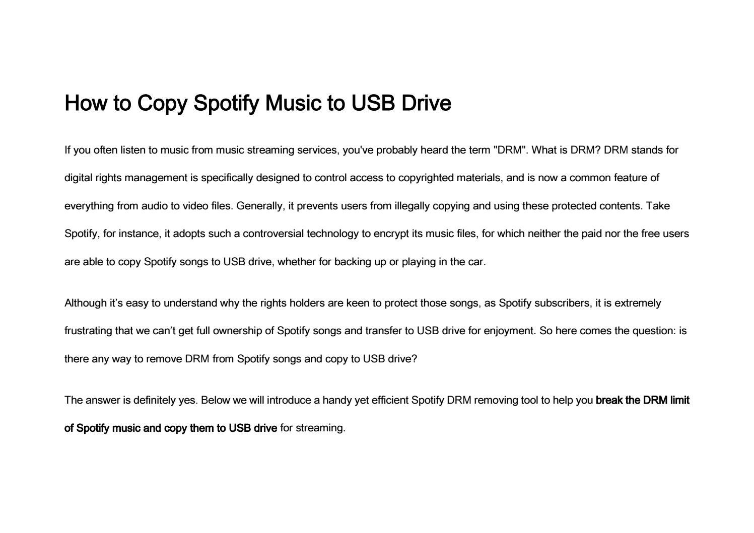 How to Copy Spotify Music to USB Drive by Nancy - issuu