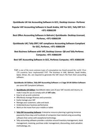 QuickBooks UK Vat Accounting Software in GCC, Desktop License by