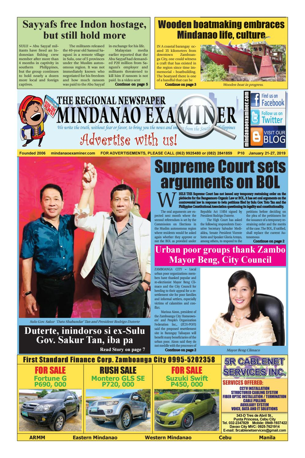 Mindanao Examiner Regional Newspaper (Jan  21-27, 2019) by Mindanao