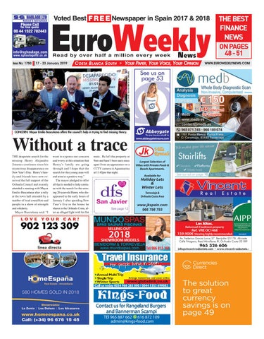 Euro Weekly News - Costa Blanca South 17 - 23 January 2019 Issue 1750