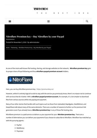 Nitroflare Premium key – Buy Nitroflare by your Paypal by