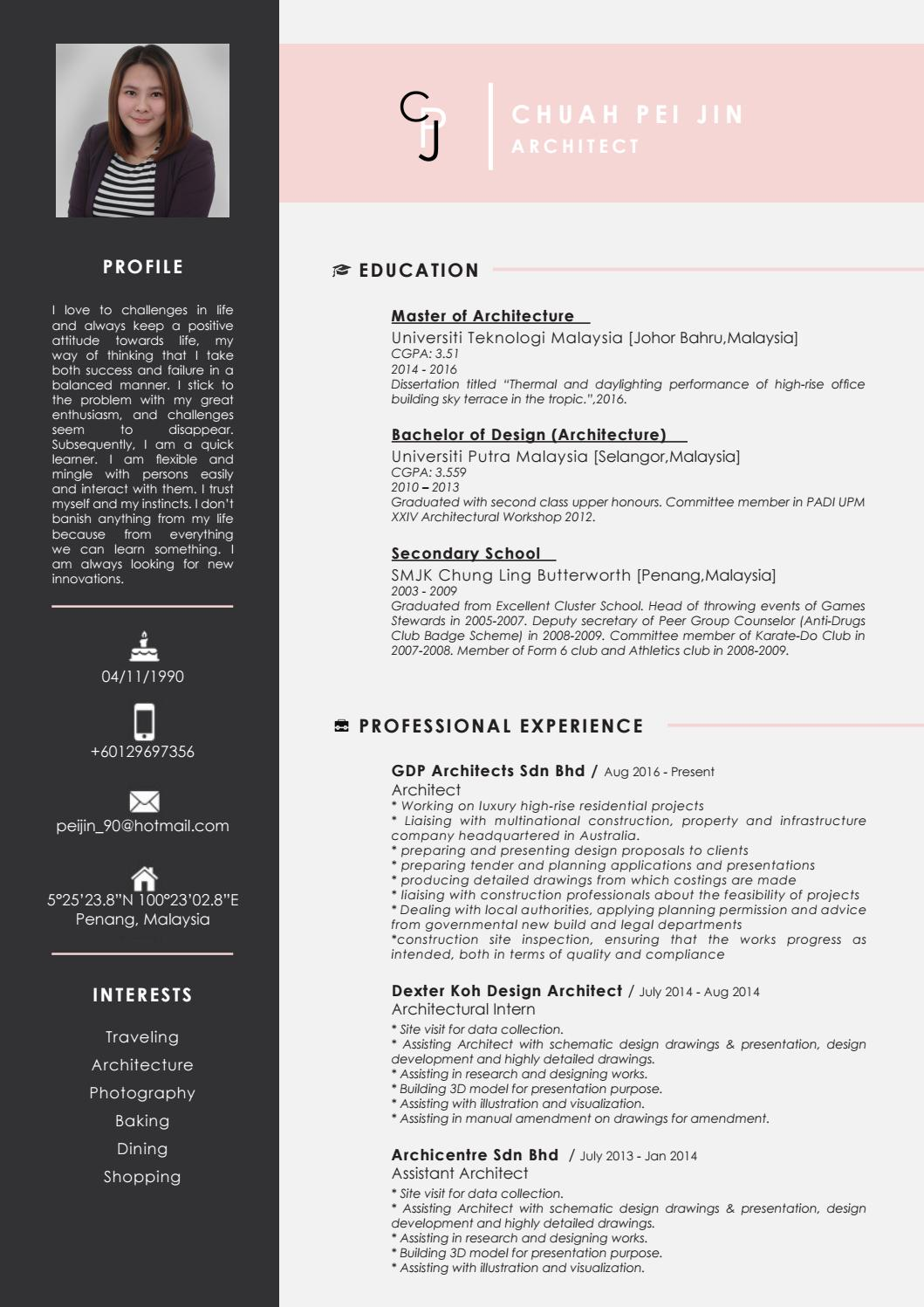 CHUAH PEI JIN - COVER LETTER & RESUME by Pei Jin - issuu