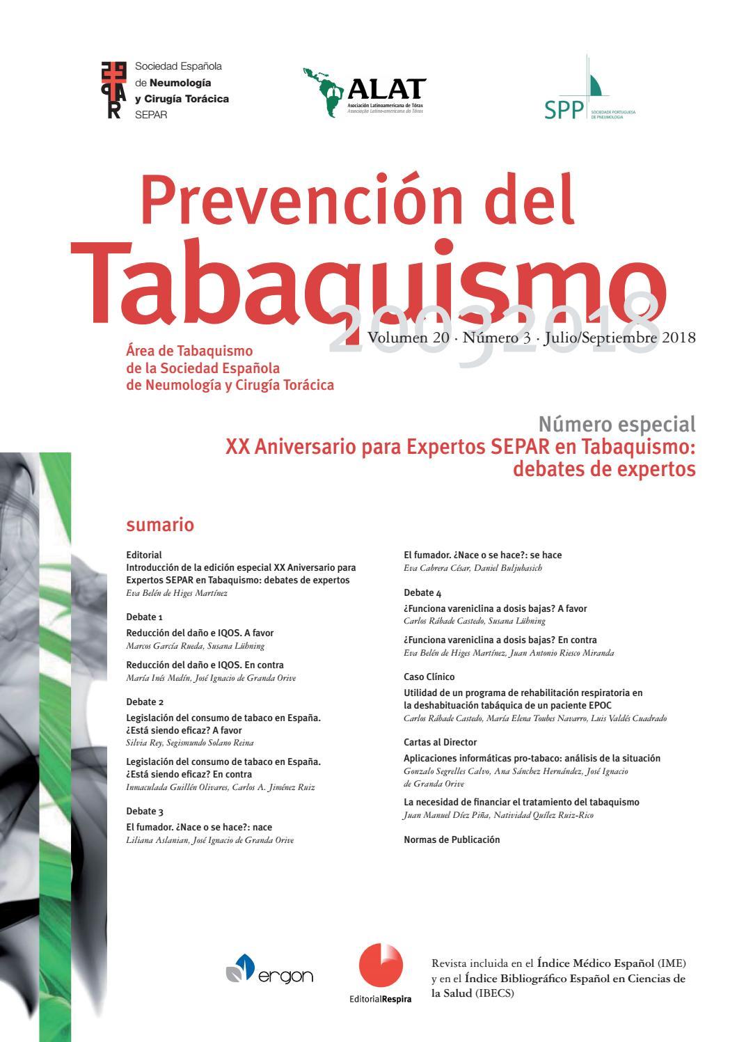 Revista Prevención del tabaquismo julio-septiembre 2018 by SEPAR - issuu
