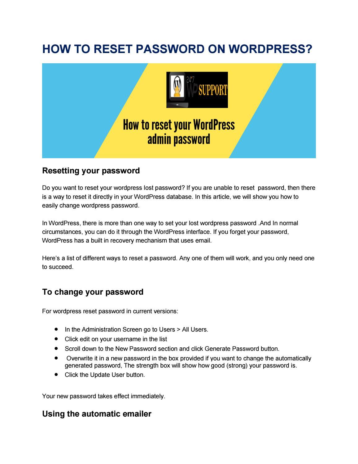 Call 800-918-5760 How to reset wordpress password mysql by