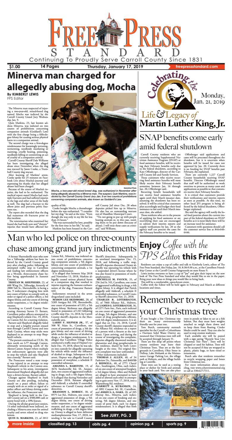 The Free Press Standard January 17, 2019 by Schloss Media