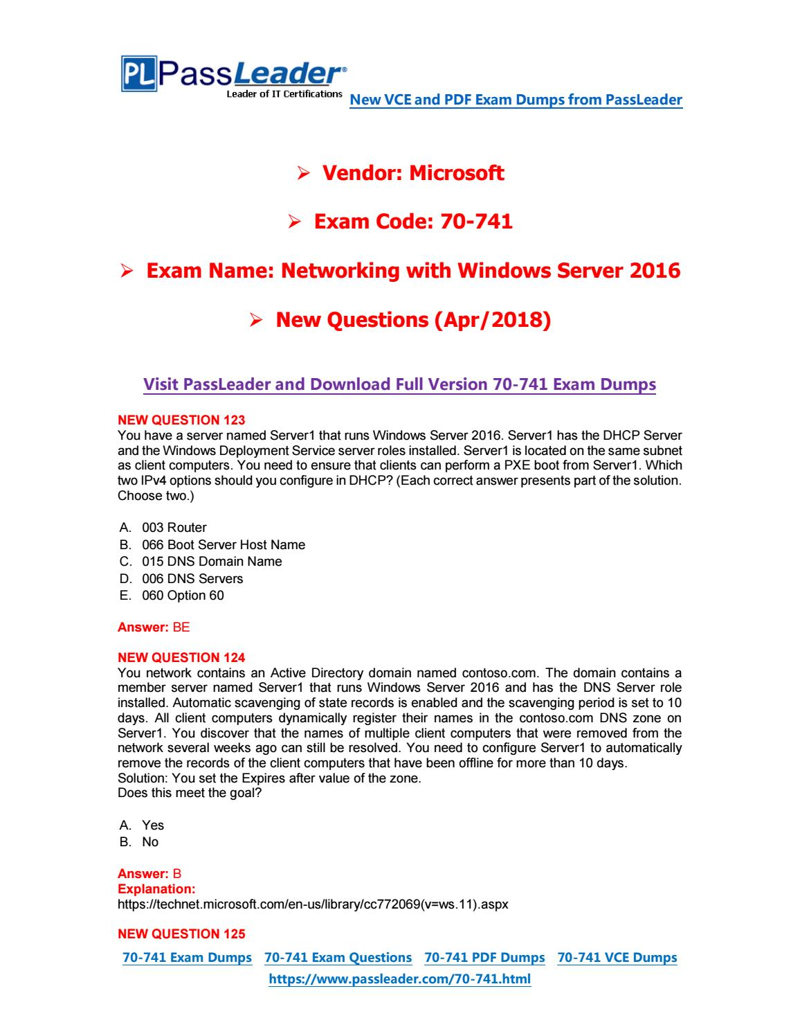 2019-New-PassLeader-70-741-Exam-Dumps-VCE-PDF-Braindumps-Exam