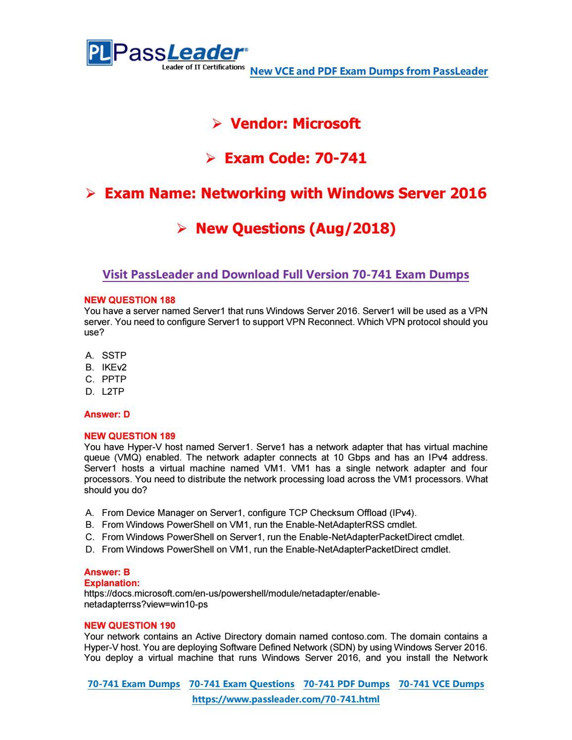2019-New-PassLeader-70-741-Exam-Dumps-VCE-PDF-Braindumps