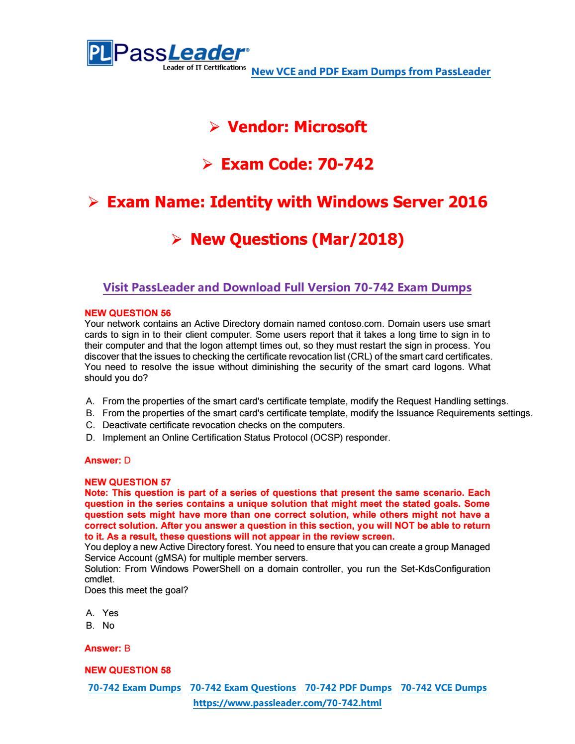 2019-New-PassLeader-70-742-Exam-Dumps-VCE-PDF-Braindumps