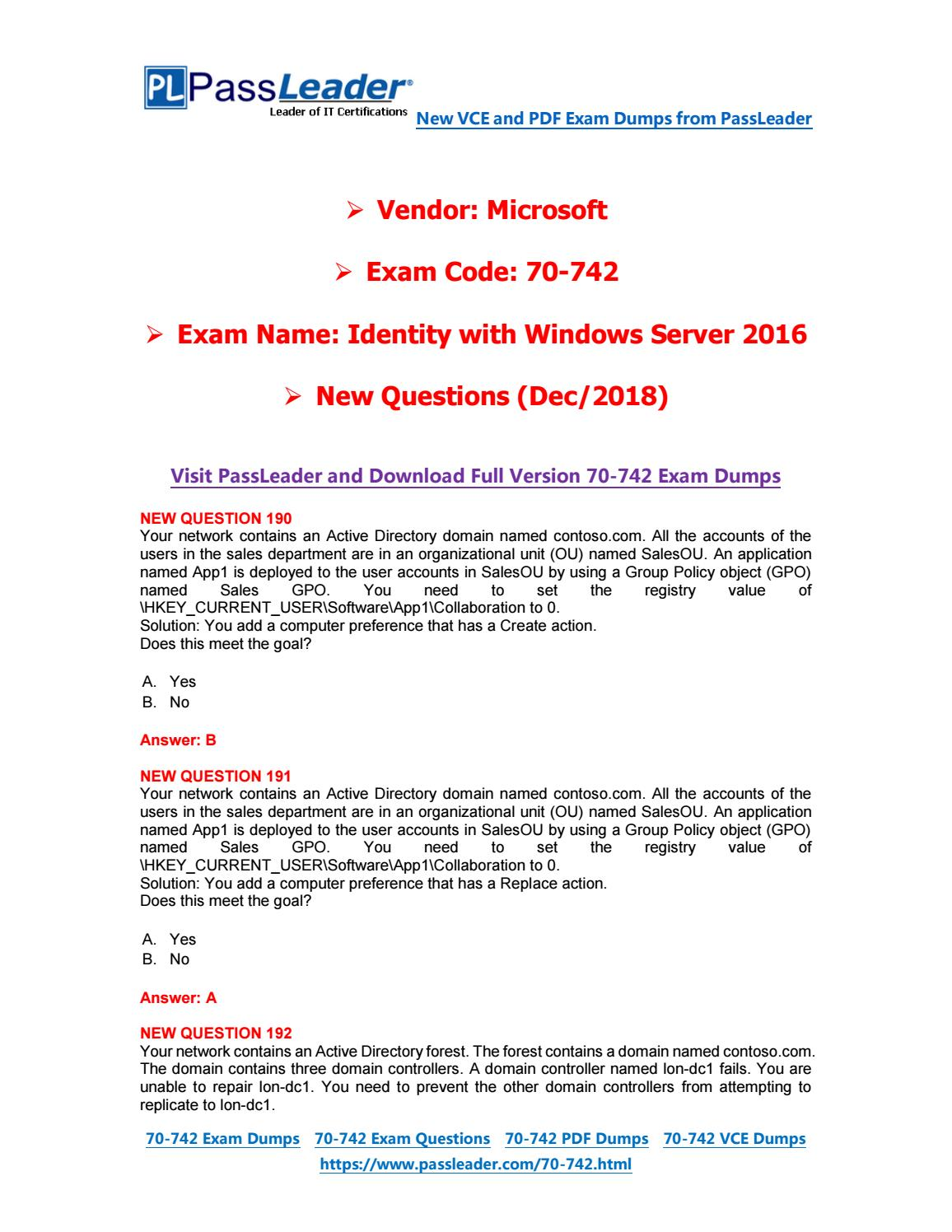 2019-New-PassLeader-70-742-Exam-Dumps-VCE-PDF-Braindumps-Exam