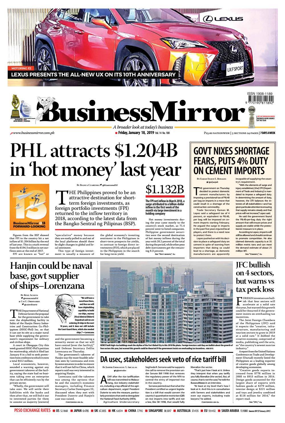 Businessmirror January 18, 2019 by BusinessMirror - issuu