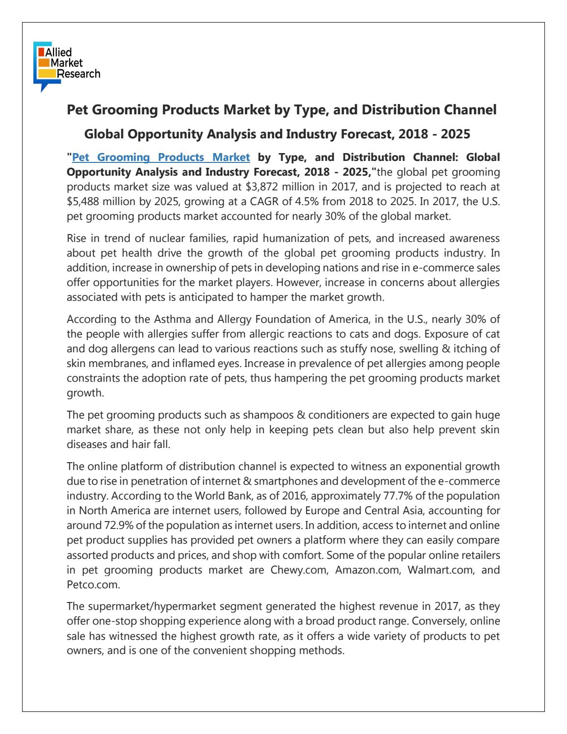 Global Pet Grooming Products Market Expected to Reach $5,488 Million