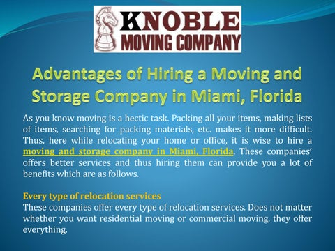 Moving And Storage Companies >> Advantages Of Hiring A Moving And Storage Company In Miami