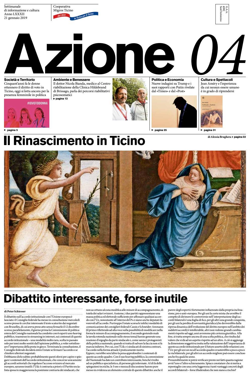 f411991128aca Azione 04 del 21 gennaio 2019 by Azione, Settimanale di Migros Ticino -  issuu