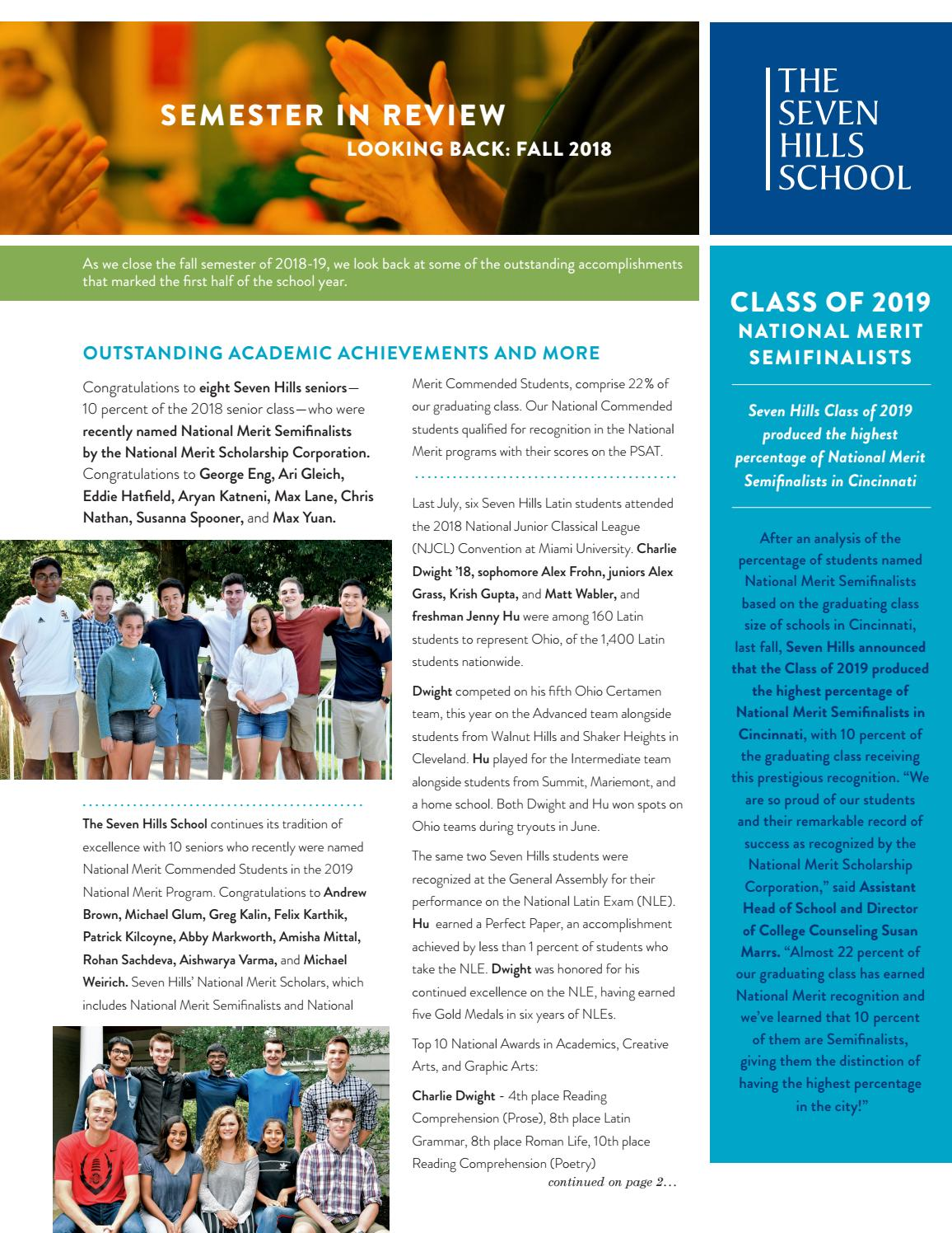 Seven Hills School Semester in Review for Fall 2018 by The Seven