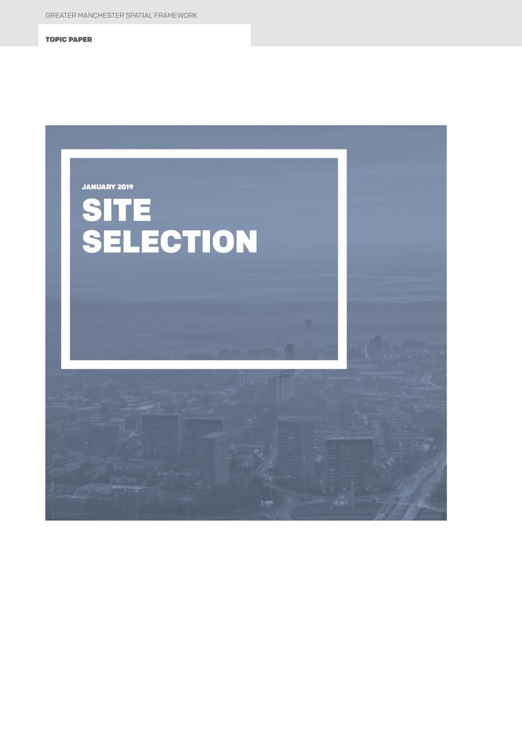 Greater Manchester Spatial Framework Site Selection (Topic Paper) by