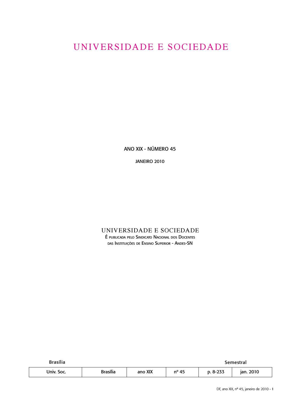 Revista Universidade E Sociedade 45 By Andes Sn Issuu