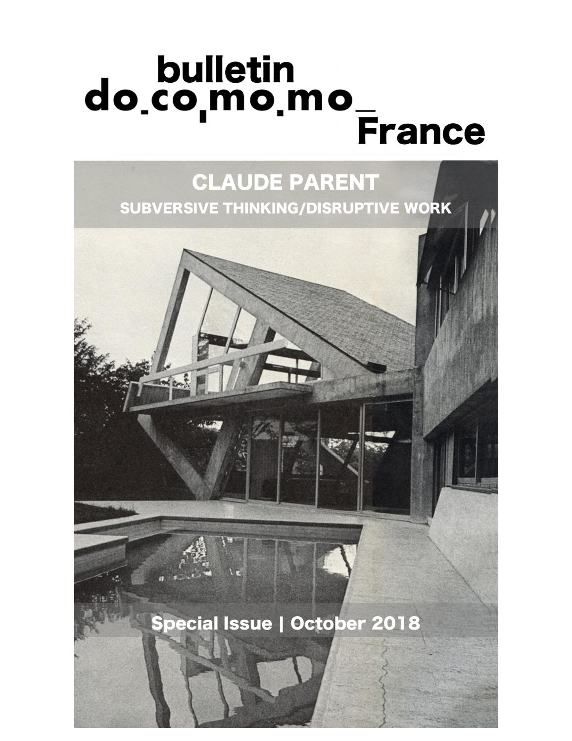 Bulletin Docomomo France Special Issue Claude Parent By