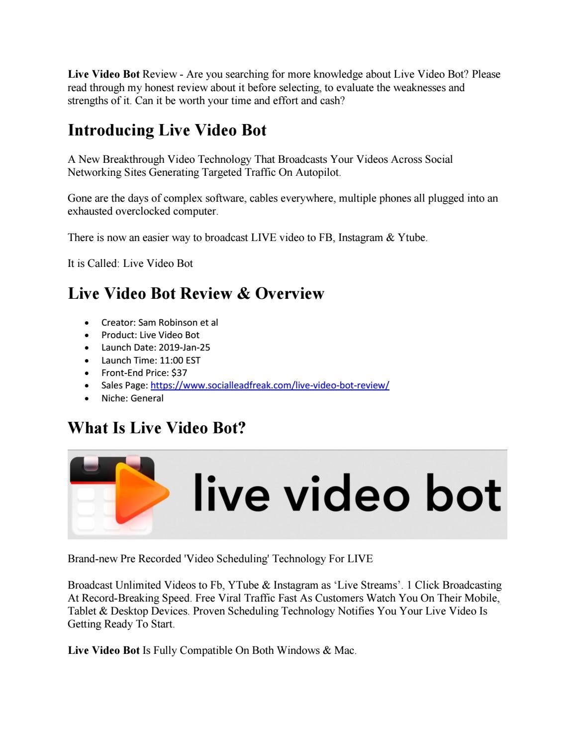 Live Video Bot Review Does It Work by richardlarue - issuu